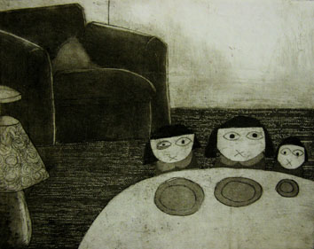 Standby (2008) etching on paper - Pui Lee