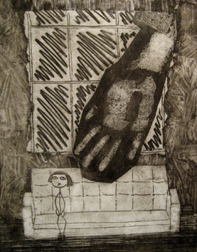 The Waiting Room (2008) etching on paper - Pui Lee