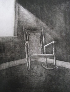Untitled (chair) (2009) etching on paper - Pui Lee