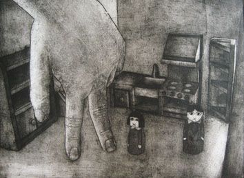 Still Lives series: The Encounter (2010) etching on paper - Pui Lee