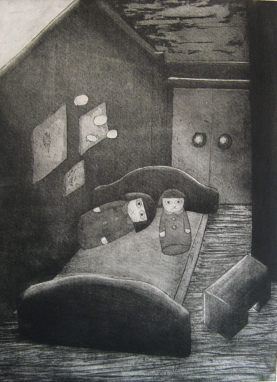 Still Lives series: Interior (2011) etching on paper - Pui Lee