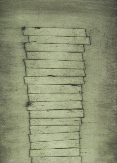 Tower (2011) collagraph on paper - Pui Lee