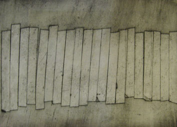 Wall (2011) collagraph on paper - Pui Lee