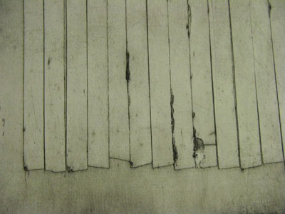 Wall (ii) (2011) collagraph - Pui Lee